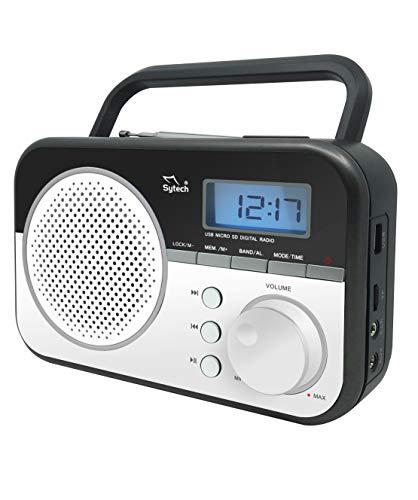Sytech SY1659BL- Radio Portátil con Sintonizador PLL de 2 bandas AM/FM, Color Blanco
