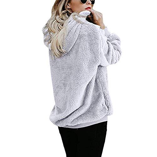 Kobay Women Hoodies,Teddy Bear Hooded Drawstring Pullover Fuzzy Oversize Fluffy Sweater Warm Long Sleeve Outerwear White
