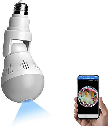 FEDBNET Cámara Espía WiFi, Cámara Interior 1080P de la Vigilancia Remota App Bulbo de E27 con Detección de Infrarrojos Visión Nocturna Alarma Inteligente Micrófono Integrado