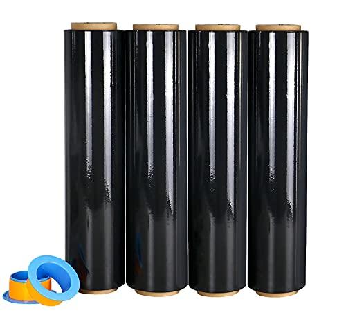 Lot de 4 rouleaux de Noir Film étirable demenagement Cling Film 250m x 450 mm x 17 µm avec poignée de roulement en plastique, pour emballage et déménagement, BOMEI PACK (Noir)