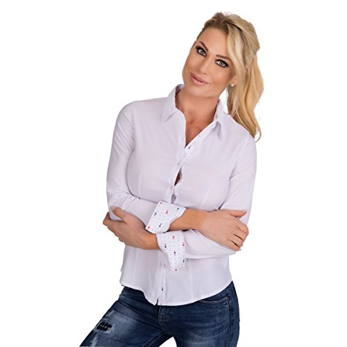 Fashion4Young 10300 Dames lange mouwen businessblouse getailleerde blouse overhemd business hemdblouse stretchblouse