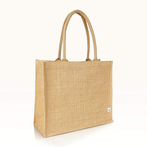 Jute statt Plastik Original | Jutetasche medium Jutebeutel Einkaufstasche Handtasche | Fair & Nachhaltig | Shopping |JB1415M |10er-Set