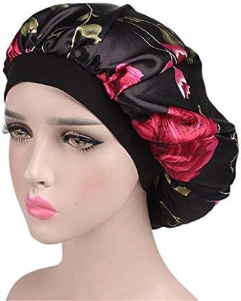 2ae3365d4e8 Qhome Luxury Wide Band Satin Bonnet Cap Comfortable Night Sleep Hat Hair  Loss Cap