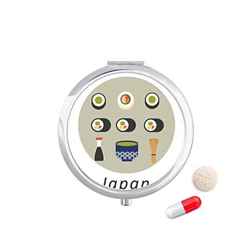 DIYthinker Traditionele Japanse lokale voedsel Sushi Travel Pocket Pill Case Medicine Drug Opbergdoos Dispenser Spiegel Gift