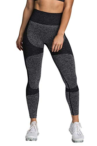 Pau1Hami1ton Sin Costura Leggins Mujer, Mallas Fitness Push Up Pantalones Deporte Running Yoga GP-15(Black,M)