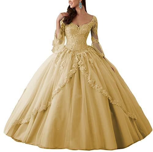 HUINI Ballkleider Lang Spitze Brautkleider Langarm Quinceanera Kleider Prinzessin V-Ausschnitt Hochzeitskleider Gold 50
