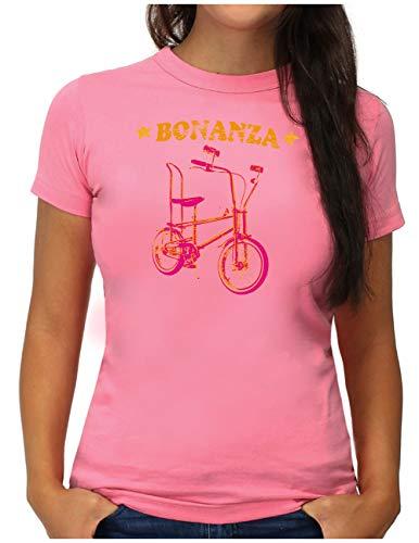 OM3® Bonanza Fahrrad T-Shirt   Damen   Retro Vintage Rad Bonanzarad I   M, Pink