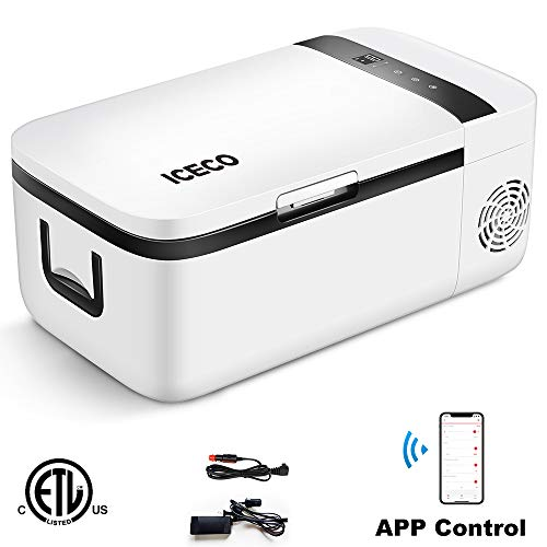 ICECO T12 Portable Refrigerator, APP Control, Compressor Portable Freezer, Touch Screen, DC 12/24 V, AC 110-240V, 0℉ to 50℉, Home & Car Use