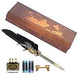 Pssopp Pluma de Pluma Pluma de caligrafía Escritura Vintage Set con Tinta Sac Dip Pen Metal Retro Dip Quill Kit para papelería o Regalo(Negro)