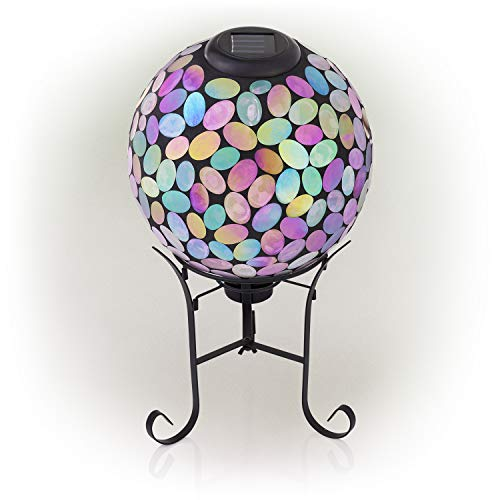 Alpine Corporation Outdoor Solar Powered Pink Glass Mosaic Gazing Globe with LED Lights and Metal Stand, Violet