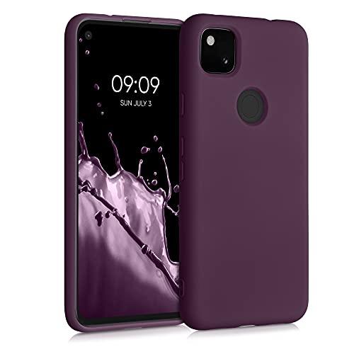 kwmobile Slim Hülle kompatibel mit Google Pixel 4a - Hülle Silikon Handy - gummiert - Handyhülle Bordeaux Violett