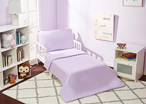 EVERYDAY KIDS 4 Piece Toddler Bedding Set - Includes Comforter, Flat Sheet, Fitted Sheet and Pillowcase - Solid Purple