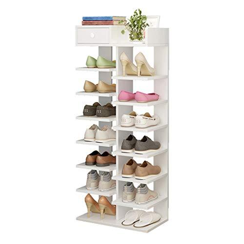 DAGCOT Zapatero Zapatero de 8 Niveles Organizador de estantería de Almacenamiento de Zapatos de Madera Organizador de Zapatos (Color : White)