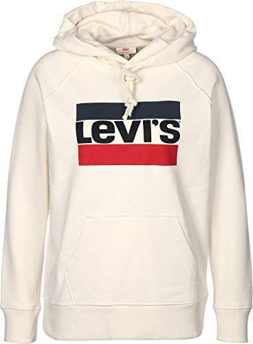 Levi's Batwing Hoodie, cappuccio Donna, Avorio (Sportswear Hoodiee White 0001), Large