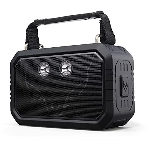 DOSS Traveler Altavoces Bluetooth portátiles e Impermeables. Cuentan con un Sonido HD de 20w, Graves mejorados, micrófono Incorporado y una batería Recargable [Negro]