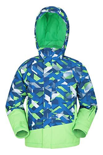 Mountain Warehouse Blade Bedruckte Kinder-Skijacke - wasserdicht, abmachbare fleecegefütterte Kapuze, integrierter Schneefang - zum Snowboarden Kobalt 5-6 Jahre