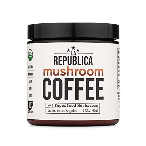 La Republica Organic Mushroom Coffee (30 Servings) with 7 Superfood Mushrooms, Great Tasting Arabica Instant Coffee, Includes Lion's Mane, Reishi, Chaga, Cordyceps, Shiitake, Maitake, and Turkey Tail