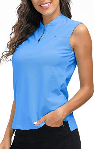 AIRIKE Golf Polo Shirts for Women Slim Fit Woman Sleeveless Sports Shirts Quick Dry Athletic Tank Tops for Tennis Work with Zipper Blue