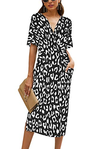 Odosalii Damen Kleider V-Ausschnitt Sommerkleid Lang Strandkleid Elegant Lockeres Boho Maxikleid Bedrucktes Party Kleid Freizeitkleid
