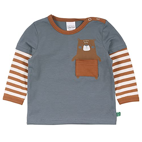 Fred's World by Green Cotton Baby-Boys Bear Layer T-Shirt, Stormy Blue, 98