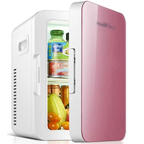Dormitorio 6L Mini refrigerador, refrigerador de coche de doble propósito AC/DC, caja de cosmética caliente y fría 12V / 220V-Rosa_6L