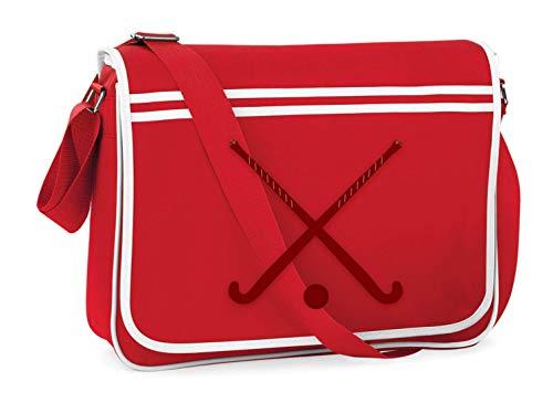 Druckerlebnis24 Schultertasche - Stöcke Eishockey Kugel Sport - Umhängetasche, geeignet für Schule Uni Laptop Arbeit