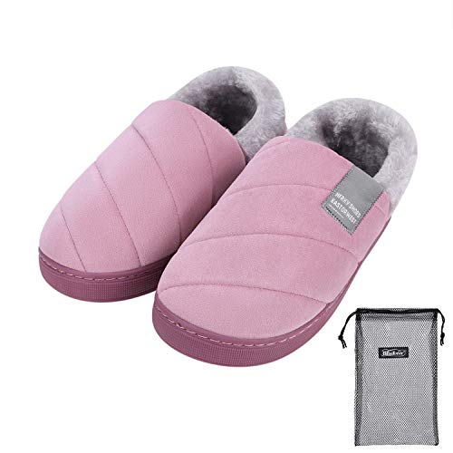 Women Men Winter Slippers Boots Memory Foam Slippers Cozy Slipper Boots Plush Lined Nonslip Indoor Outdoor Slippers Slip On Warm House Shoes Fuzzy with Drawstring Storage Bag Light Purple