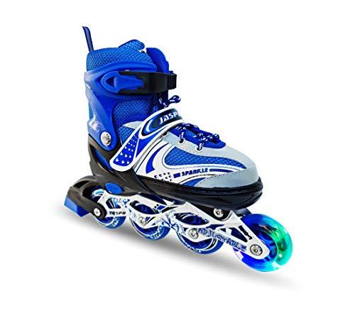 Jaspo Sparkle Adjustable Inline Skates with Front Light up Wheels Beginner Skates Fun Illuminating Roller Skates for Kids Boys and Girls