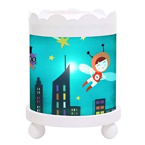TROUSSELIER - Hada - Lámpara mágica Nocturna Redonda - Ideal para niños - Dibujos Animados - Luz Confortable - Color de Madera Blanca - Bombilla 12V 10W incluida - Adaptador de Enchufe Europeo