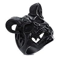 メンズクールホーンゴートリングステンレススチールメンズモーターサイクルバイカーゾンビスカルリングメンズジュエリー10ブラック