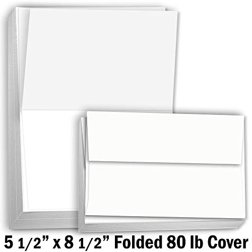 Hamilco Card Stock Folded Blank Cards with Envelopes 5 1/2 x 8 1/2' - Scored White Cardstock Paper 80lb Cover - 100 Pack