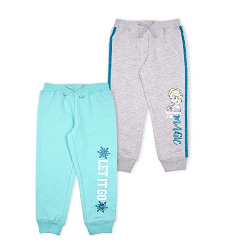 Disney 2-Pack Frozen Joggers Pants, Elsa Pajamas for Girls, Kids, and Toddlers Grey