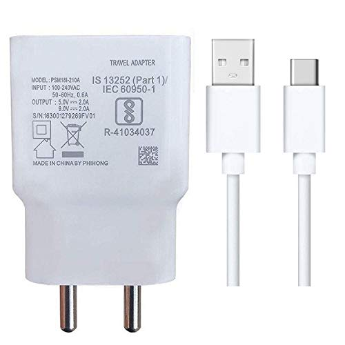 Fast Type-C Charger for ZTE Axon 10s Pro 5G,ZTE Axon 11 4G Charger Original Adapter Wall Charger | VIVO Original Charger Cable Type-C Mobile Charger | Type-C Charger Cable Fast Charging Mobile Charger | Type C Fast Charger | Type C Android Charger with 1 Meter USB Type C Charging Data Cable (2.4 Amp,A1, White)