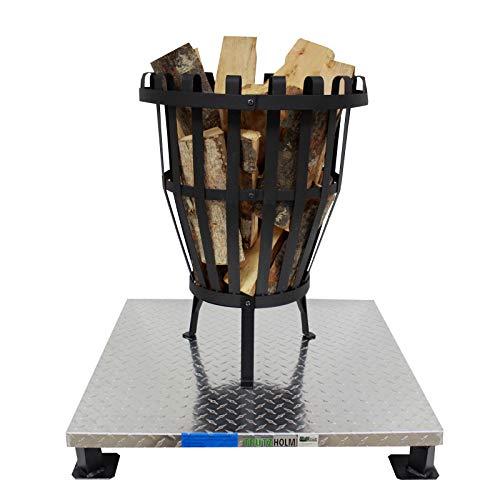 TRUTZHOLM® Massive, schwere Bodenplatte 66x66cm für Feuerkorb/Feuerschale Funkenschutz Schutzplatte Hitzeschutz für Terrasse, Boden und Rasen