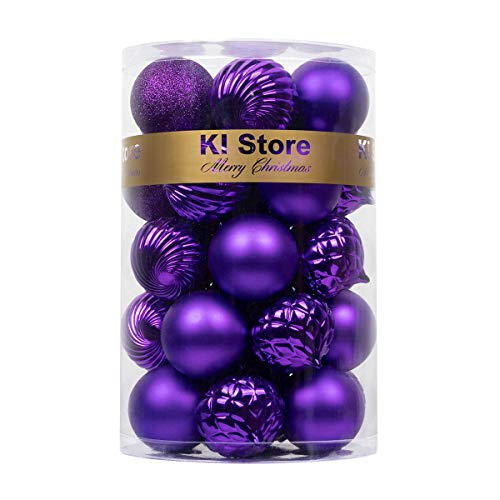 KI Store 34ct Christmas Ball Ornaments Purple 2.36-Inch Shatterproof Christmas Tree Balls Decorations for Halloween Xmas Party Tree Ornaments Hooks Included (60mm)