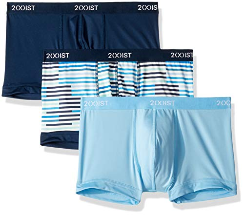 2(X)IST Men's Micro Speed Dri 3pk No-Show Trunk Underwear, Varsity Navy/Sunset Stripe/Alaskan Blue, Large