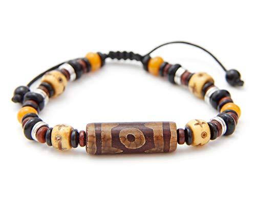 Agathe Creation BP010820 - Pulsera tibetana de piedra dzi, hueso de búfalo y piedra de ónix – amuleto de la suerte – Tamaño ajustable