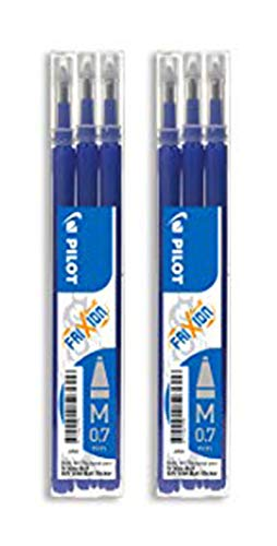 Pilot - Lot de 2 sets de 3 Recharges FriXion Ball - Bleu - Pointe Moyenne