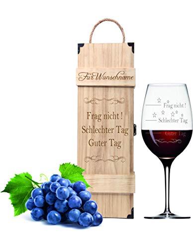 FORYOU24 Weinglas Guter Tag Schlechter Tag personalisiert mit Geschenkbox
