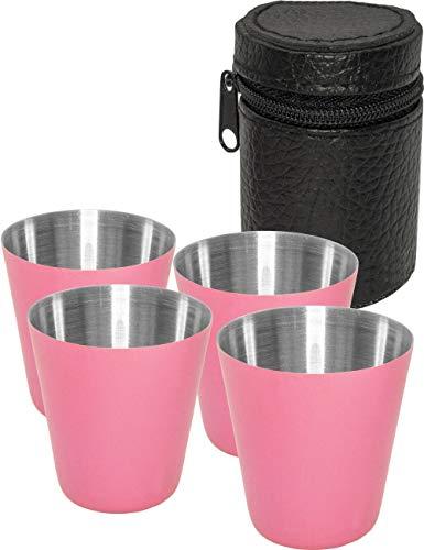 Outdoor Saxx® - 5-teiliges Edelstahl-Becher, Trink-Becher Set, 4 Schnaps-Becher Schnaps-Gläser aus Metall, Metall-Becher mit Leder-Tasche, ideales Flachmann-Zubehör, pink, rosa