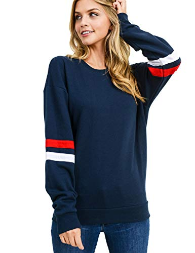 Damen Sweatshirt Pullover Casual Langarmshirt Hoodie Rundhals Kaputzenpullis Oversize Streifen Shirt Oberteil Tops(bl,l)