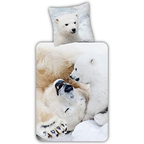 ESPiCO Bettwäsche Trendy Bedding Eisbären Bären Wildtiere Raubtiere Tiermotiv Schnee Eis Weiß Renforcé, Größe:135 cm x 200 cm