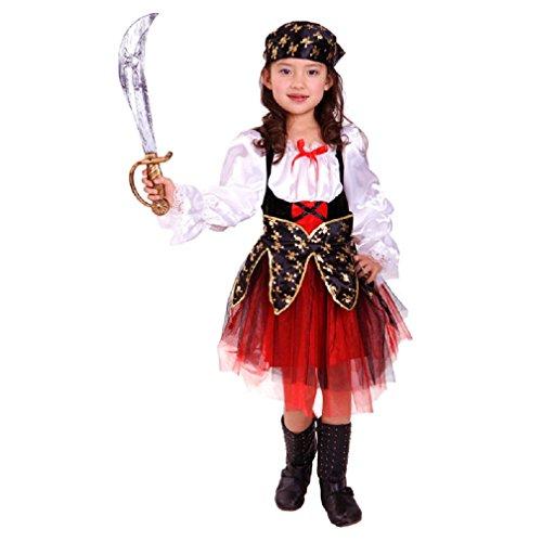 Jt-Amigo Disfraz de Pirata Para Niña, Talla 7-8 Años