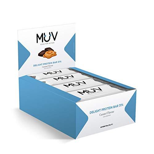 MUV Food for Action - Barretta proteica al caramello, 30 g, confezione da 12