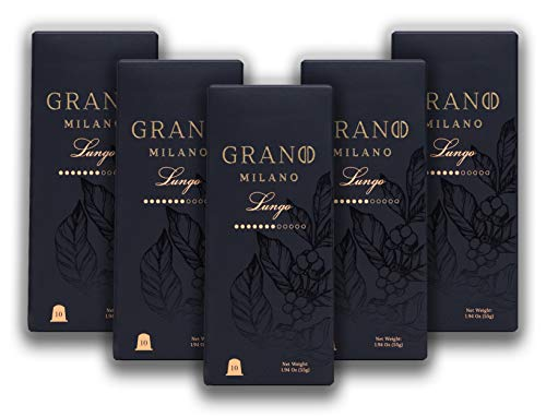 50 Grano Milano Capsules | Lungo | 100% Arabica| Nespresso* Original Line Compatible Pods | Fair Trade Coffee| Made in Italy | Intensity 7| Fruity and Lingering Notes, Well-Balanced Body