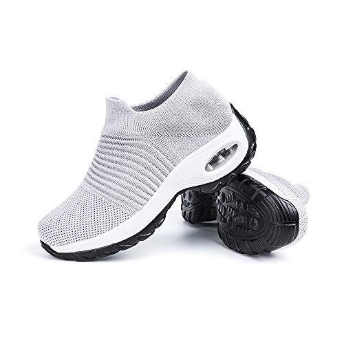 Scarpe Ginnastica Donna Sneakers Running Camminata Corsa Basse Tennis Air Traspiranti Sportive Gym Fitness Casual Comode Grigio-Chiaro Taglia 38