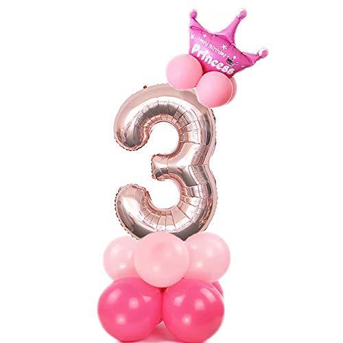JinSu 3 Jahre Geburtstag Zahlen Luftballons für Mädchen, 13 Stück Geburtstag Deko mit Folie Krone Ballon und Latex Ballons für Geburtstag Dekoration (Rosa 3)