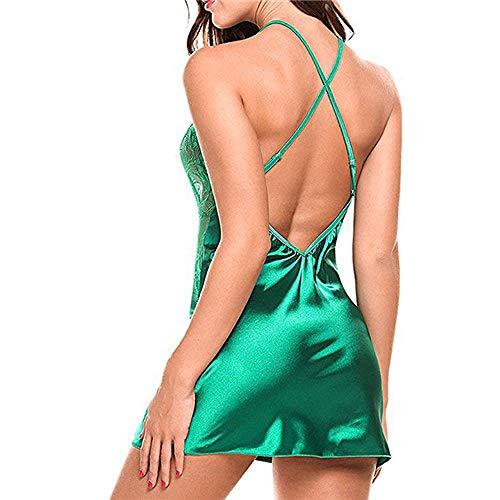 Pijama Erotico Vestido De Noche Sin Espalda Sexy para Mujer Vestido De Noche Sin Mangas Camisón con Cuello En V Ropa Interior De Encaje De Verano Vestido De Dormir para Mujer