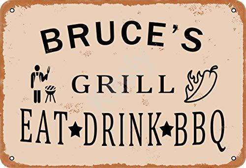 Keely Bruce'S Grill Eat Drink BBQ Metall Vintage Zinn Zeichen Wanddekoration 12x8 Zoll für Cafe Coffee Bars Restaurants Pubs Man Cave Dekorativ