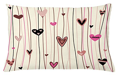 Ambesonne Valentines Day Throw Pillow Cushion Cover, Hearts in Various Shapes and Sizes with Doodle Lines Love Themed Image, Decorative Accent Pillow Case, 26 W X 16 L Inches, Black Coral Pink